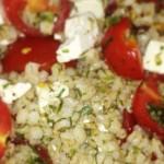 Перловка с брынзой, томатами и укропом